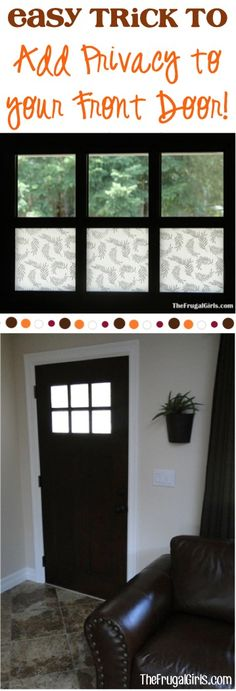Easy Trick to Add Privacy to your Front Door ~ from TheFrugalGirls.com - this simple little DIY trick looks so pretty and will add some security to your doors with windows! #thefrugalgirls