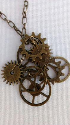 Steampunk Clockwork Parts Antique Bronze Necklace by AbielleRose, $26.00