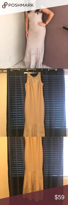 Tan Long Dress/Gown Beautiful gown. Worn once, in great condition. Minor pulling in the lace areas, shown in pictures, not noticeable when on. Material stretches so it is extremely comfortable. Shell is 92% polyester and 8% spandex. London Times Dresses Prom