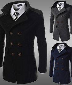 Winter Men Coat Funnel Neck Cotton Double-Breasted Topcoat