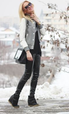 Fashion Spot: Black and white in a grey day, wearing Meli Melo sunglasses Meli Melo, Leather Jacket, Black And White, Sunglasses, Grey, How To Wear, Jackets, Fashion, Studded Leather Jacket