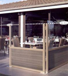Windschutz Glas und Holz