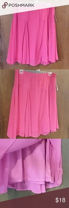 Rose Up Chiffon Godet Skirt Make it pink like Flora when you Disneybound as Aurora.  Chiffon like sheer material over a polyester lining. Very light and flowy. Elastic waist. 100/ polyester, fully lined. Fits larger, more like a M/L. Old Navy Skirts