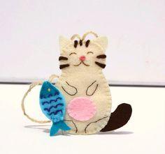 Fat Cat Holiday Felt Ornament Pastel White by FruityCocoIsland, $11.50