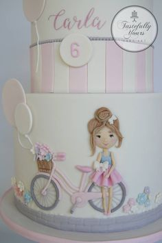 Bicycle Girl - cake by Marianne: Tastefully Yours Cake Art - CakesDecor Bicycle Party, Bicycle Cake, Bike Cakes, Bicycle Girl, Birthday Cakes For Women, Birthday Cake Girls, Sister Birthday, Cake Pops Mickey Mouse, Fondant Cakes