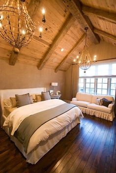 Log Home Bedroom    Clean and Simple Oh that ceiling and oh those huge windows!