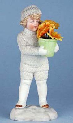 Amazing Antique German Snow Boy with flowers.