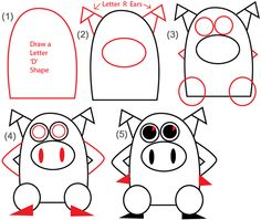 cartoon pig face how to draw