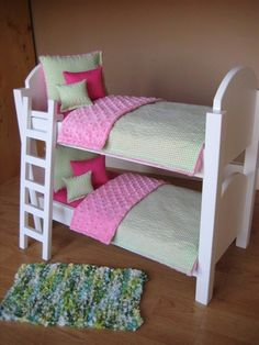 American Girl Doll Bunk Bed With Ladder And 10 Piece Bedding In Pink & Lime…