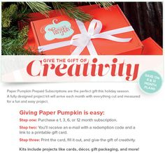 Paper Pumpkin subscription = great Christmas gift! http://www.stampinup.com/ECWeb/ItemList.aspx?categoryID=1444&dbwsdemoid=36509