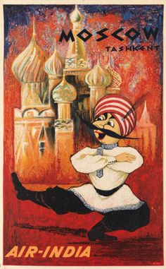 Air India travel poster: Moscow