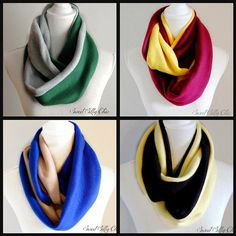 Hogwarts House Inspired Fleece Infinity Scarf Set of Four, Ravenclaw, Gryffindor, Slytherin, Hufflepuff Scarf on Etsy, $88.00
