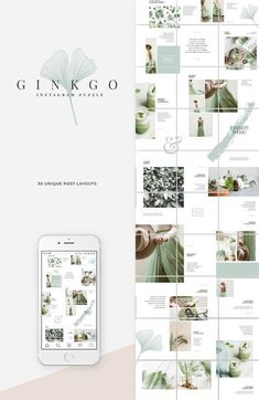 A minimal & modern Instagram puzzle template with a whole months worth of posts. Ginkgo design line features a soft, natural aesthetic that's easy on the eyes and makes great use of white space. Features: - Instagram Puzzle Template with 30 Posts - Fully Editable Elements - Organized & Labelled Layers - Uses a Free Multilingual Font - Includes a