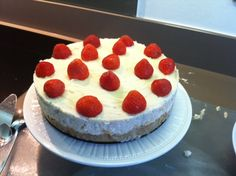 Strawberries & cream cheesecake. (Hummingbird recipe) Didn't follow instructions properly so ended up with a soggy base :(