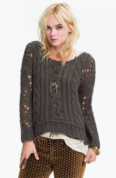 Free+People+Chunky+Cable+Sweater+available+at+#Nordstrom