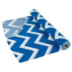 "20.99=40"" x 100ft. Blue Chevron Tablecloth Roll - OrientalTrading.com"