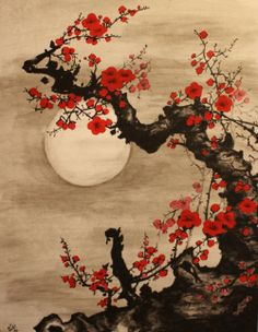 Moonlight on the flowers.  Vintage Japanese Shikishi Art
