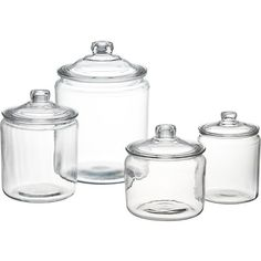Shop Heritage Hill Glass Jars with Lids. A refresher course in retro storage and service. These classic lidded glass jars have been in production since the the perfect see-through container for snacks or for ladling up beverages like lemonade or sangria. Crate Storage, Food Storage Containers, Flour Storage, Baking Storage, Kitchen Canisters, Kitchen Pantry, Kitchen Storage, Kitchen Organisation, Storage Organization