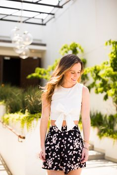 White Crop Top | Patterned Shorts