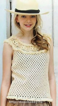 "Summer crochet blouse ""Crochet and knitting, model and diagram with description, cross-stitch, crafts for home with their own hands"
