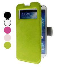 Solid Color PU Leather Case met Bekijkt Scherm voor Samsung Galaxy S4 I9500 (assorti kleur) – EUR € 9.19