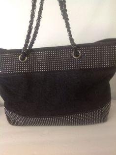 Noelle Black Denim Prewashed Silver Studed Large Tote Bag Designer Fashion Hip  #Noelle #TotesShoppers