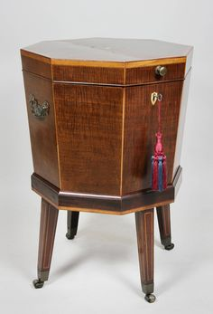George III Mahogany And Inlaid Cellerette Or Wine Cooler | From a unique collection of antique and modern wine coolers at https://www.1stdibs.com/furniture/more-furniture-collectibles/wine-coolers/