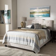 Baxton Studio Brunswick Contemporary Fabric Bed (Beige - Full/Double) Tufted Bed, Upholstered Platform Bed, Upholstered Beds, Contemporary Fabric, Baxton Studio, Bed Furniture, Staging Furniture, Furniture Ideas, Queen Size Bedding