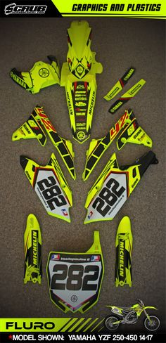 Have you ever heard about fluorescent / neon dirt bike graphics? It looks just insane! And we do them! Graphics + plastics + installation = SCRUBdesignz #fluro #fluorescent #neon #dirtbike #mx #motocross #yamaha