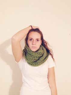 Olive Green / Oversized Crochet Infinity Scarf / Women's Accessories / Handmade Gift / Chunky Scarves / on Etsy, $45.00