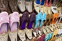 Shoes for sale in a Dubai souk | The souks are where you come to get a good deal on local handicrafts and much better prices (with some haggling) on products than you'd get at one of the malls.