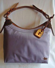 DOONEY & BOURKE Purple Nylon Brown Leather Pink Women's Handbag Purse CLEAN! #DooneyBourke #Hobo