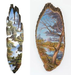 2-up..Landscapes painted on the surfaces of cut logs by Alison Moritsugu....Incedible:):)