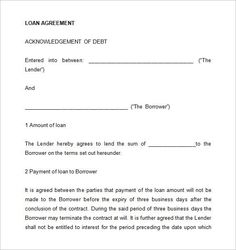 Loan Agreement Sample  Places To Visit    Template And