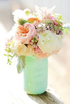 Teal/tiffany blue mason jar vase and a beautiful bouquet of flowers. An easy DIY centerpiece idea. and the flowers would make stunning wedding bouquets or wedding flowers for decorating or reception centerpieces. Our Wedding, Dream Wedding, Trendy Wedding, Wedding Summer, Spring Weddings, Mint Weddings, Elegant Wedding, Wedding Ceremony, Indoor Wedding