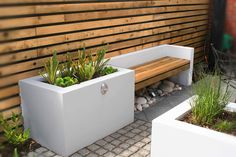 A Small Contemporary Garden - Woodpecker Garden and Landscape Designs Contemporary Garden Design, Modern Landscape Design, Garden Landscape Design, Modern Landscaping, Outdoor Landscaping, Outdoor Gardens, Concrete Garden Bench, Small Back Gardens, Back Garden Design