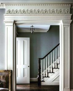 Home Design Labs - Original millwork, moulding, frieze, and framing. Georgian Interiors, Georgian Homes, Victorian Homes, Georgian Townhouse, Home Design, Design Ideas, Design Design, Design Trends, Hallway Colours
