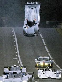 """1999 24hrs of Le Mans Mark Webber Mercedes flip on warm-up laps: I attended a year later after the """"hump"""" had been flattened. The BMW did it at Road Atlanta's Petit Le Mans too."""