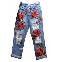 HUANLES Hot Sale Women's Ripped Jeans Fashion Boyfriend Jeans For Woman Hole Denim pants Flowers Embroidery Jeans Embellished Jeans, Embroidered Jeans, Jeans Material, Jean Diy, Jean Large, Boyfriend Jeans Style, Ripped Jeggings, Skinny Jeans, Ripped Denim