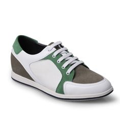 Chamaripa 2.56 inch Suede Leather Sport White/green height increasing shoes