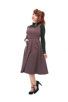 Collectif Vintage Gertrude 40s Check Pinafore Dress - Collectif Vintage from Collectif UK