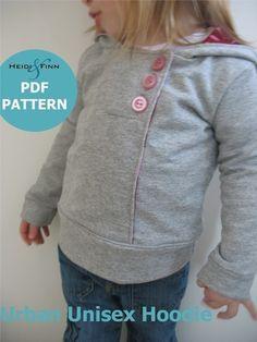 Urban Unisex Hoodie pattern and tutorial 6M - 5T PDF pattern boy girl. $6.00, via Etsy.