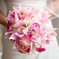 Bridal bouquet. Pink and white flowers.