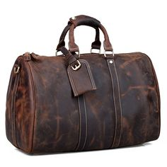 8901d43495eb Vintage Handmade Antique Crazy Horse Leather Travel Bag   Luggage   Duffle  Bag(z11)