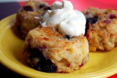 Mixed Berry Bread Pudding with Lemon Whipped Cream
