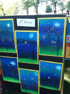 elementary art education landscape night time fireflies lightening bugs watercolor washes oil pastels