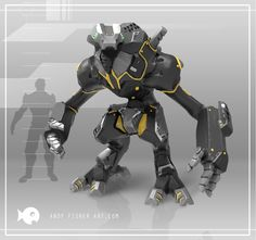 Worker Mech Concept, andy fisher on ArtStation at https://www.artstation.com/artwork/worker-mech-concept