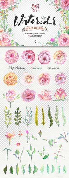 Clip Art Wedding Invitation Watercolor flower DIY Pack2 (30%OFF) by Blessed Print on Creative Market Pocket Scrapbooking / Project Life / Journaling / Memory Keeping