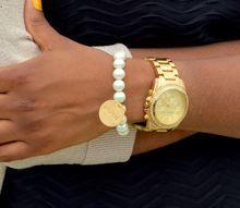 """Believe"" Inspirational Hand Stamped Pearl Bracelet"