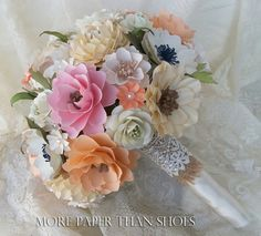 Paper Bouquet - Paper Flower Bouquet - Wedding Bouquet - Toss Bouquet - Country Chic - Custom Made - Any Color